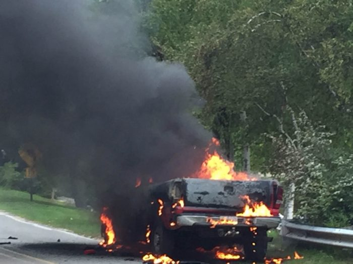 Truck destroyed in fire.